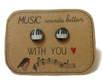 PIANO STUD EARRINGS - Piano earrings - Music Note Earrings - Music Gift - Music Teacher Gift - Gift for Musician - Music Earrings
