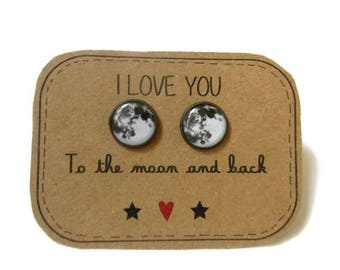 FULL MOON EARRINGS - moon earrings - moon stud earrings - space - planet - Mother Daughter Jewelry - I love you to the moon and back