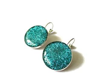 TURQUOISE GLITTER EARRINGS - Blue glitter earrings - dangle earrings - sparkly jewelry - silver earrings - glass - glitter jewelry - blue