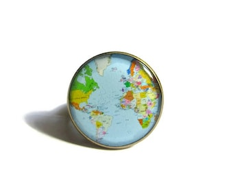 GLOBE ring - World Map ring - world jewelry - Planet Earth Travel Accessory - Gift for Traveler - Geography Teacher - colorful Map