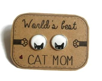 BLACK CAT EARRINGS - Peeking Cat earrings - cat studs - cat jewelry - black cat earrings - cats - black and white earrings - peeking cat