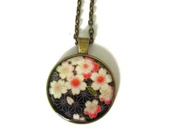 SAKURA BLOSSOM NECKLACE - Cherry Blossom Pendant - Cherry Blossom Jewelry - Spring Flower Jewelry - Pink cherry bloom pendant
