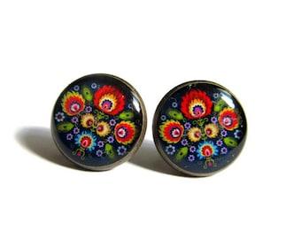 FOLK STUD EARRINGS - Polish Folk Jewelry - Folk Flowers Earrings - Post Earrings
