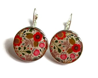 Flowers dangle earrings - colorful flowers earrings - flowers vintage earrings jewelry - summer earrings - spring - colorful