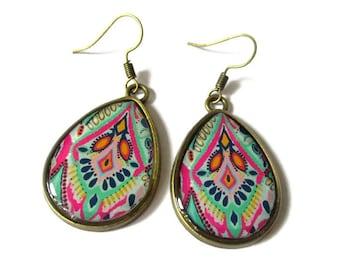 TEARDROP EARRINGS - Boho Jewelry - Boho earring - Wife gift - Romantic earrings - Colorful earrings - Bright earring - rainbow earring, clip