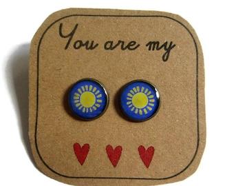 SUN EARRINGS - Sunburst Stud Earrings - Sunny Summer Jewelry - Sun Studs - Sunshine Earrings - Space Jewellery - Outer Space Jewelry