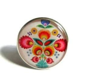 Zhostovo Flowers ring -  Russian Folk Art - Pretty Flower Jewelry - Statement ring - Unique ring - Khokhloma - Slavic jewelry