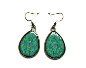 Peacock Earrings - Bohemian Earrings - peacock jewelry - drop earrings - Feather Jewelry - Bridesmaid Earring - Peacock Wedding - Clip on