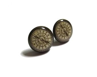 EARRINGS - Antique Compass earrings - traveler gift - compass earrings - vintage compass stud earrings - jewelry for her