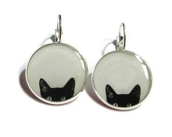 CAT EARRINGS - Peeking Cat earrings - black cat earrings - cat jewelery - black cats - peeking cat - cat lover - black - white