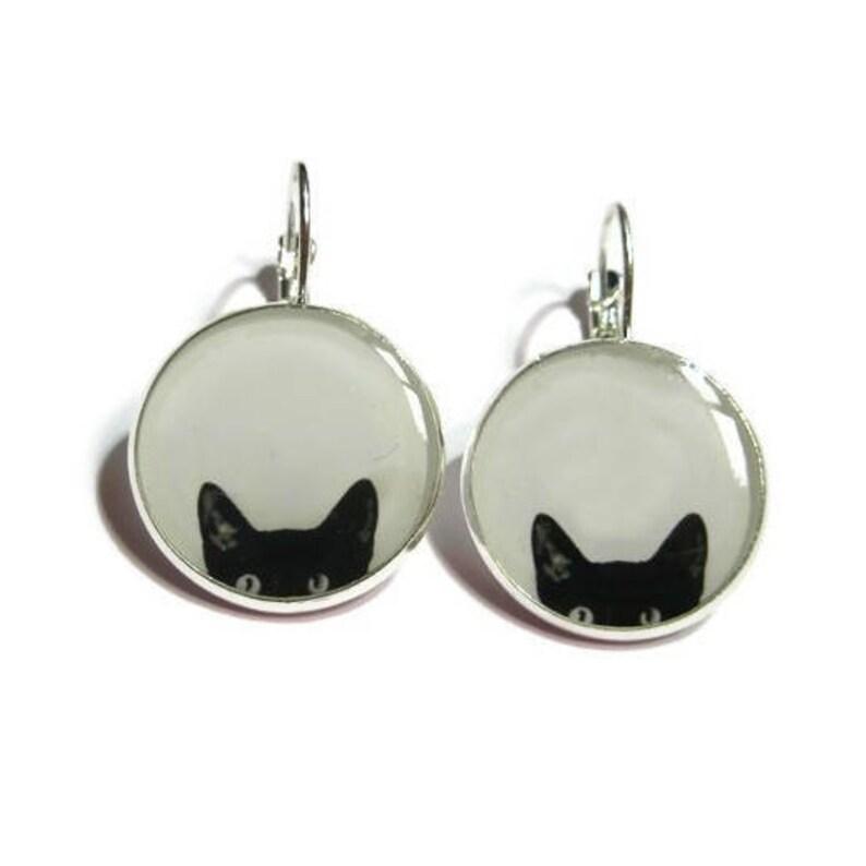 CAT EARRINGS  Peeking Cat earrings  black cat earrings  cat image 0