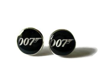 007 stud earrings, james bond stud earrings, james bond logo, james bond jewelry, 007 jewelry, bond earrings, secret agent,Gift