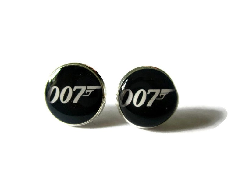 007 stud earrings james bond stud earrings james bond logo image 0