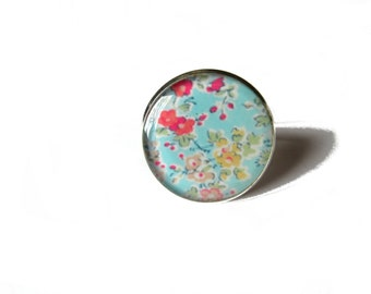 FLOWER RING - Pastel Floral ring - Flower Jewelry - Lightweight - light blue ring - light blue jewelry - Floral gift - shabby chic style