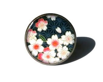 CHERRY BLOSSOM RING - Cherry Blossom Jewelry - Sakura Flower Ring - Floral Ring - Pink - Black