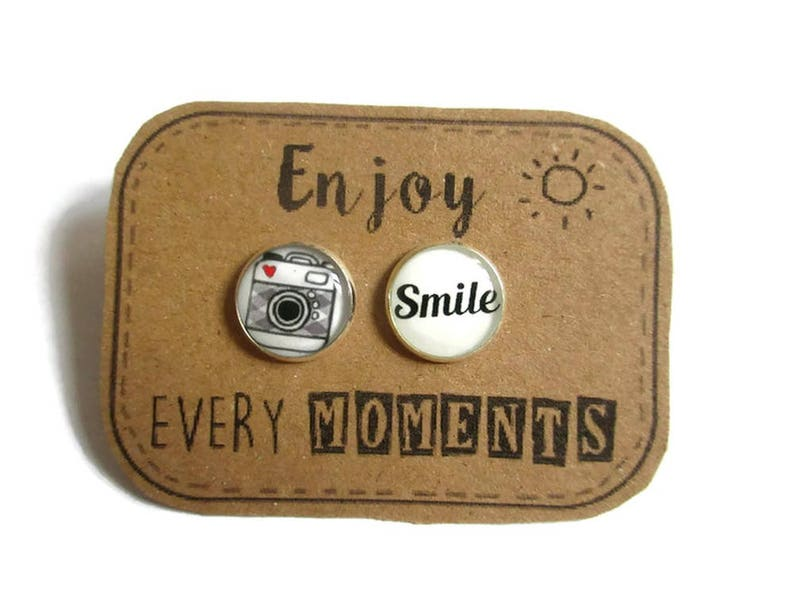 CAMERA EARRINGS  camera studs  camera jewelry  Accessories image 0