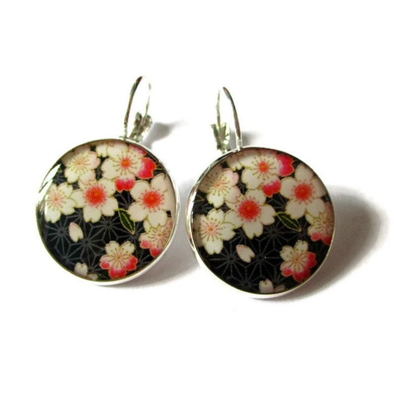 CHERRY BLOSSOM Earrings  Dangle Earrings  Sakura Earrings  image 0