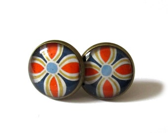 FLOWERS EARRINGS - orange stud Earrings - blue - bohemian Earrings - Geometric Earrings - Boho Earrings - Flower post earrings