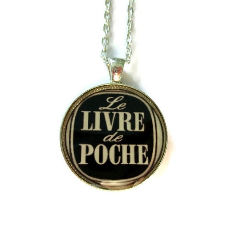 Book Lover Necklace Livre De Poche Reader Jewelry Literary Necklace Book Pendant Reader Gift French Quote Teacher Gift Librarian