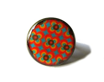 ORANGE RING - Geometric ring - FLOWERS Ring - abstract pattern - 60's pattern - Colorful ring -  adjustable ring - vintage style - cabochon