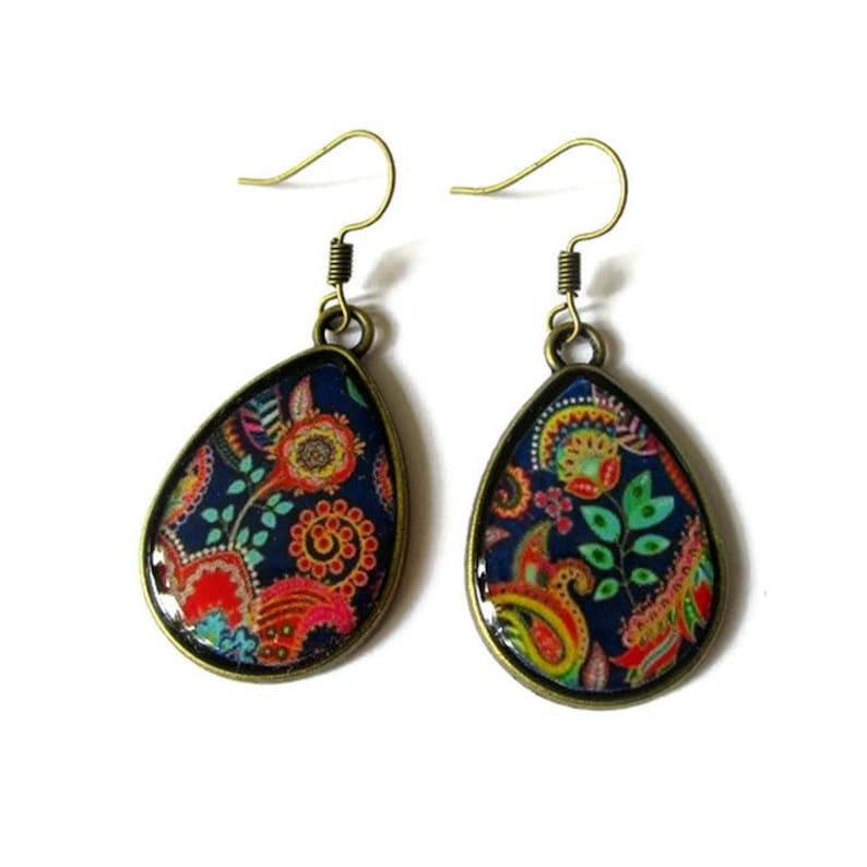 Bohemian TearDrop Earrings  Colorful Earrings  Summer Boho image 0