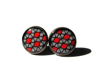 LIGHTWEIGHT EARRINGS - Statement earrings - Stud red earrings - red earrings - earrings gifts for girlfriend - boho pattern - aztec