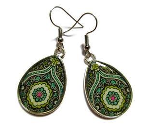 Teardrop Earrings, drop earrings Paisley Pattern, green BOHO Earrings, Hippie Earrings, Indian Pattern, Ethnic Earrings, Tribal - clip