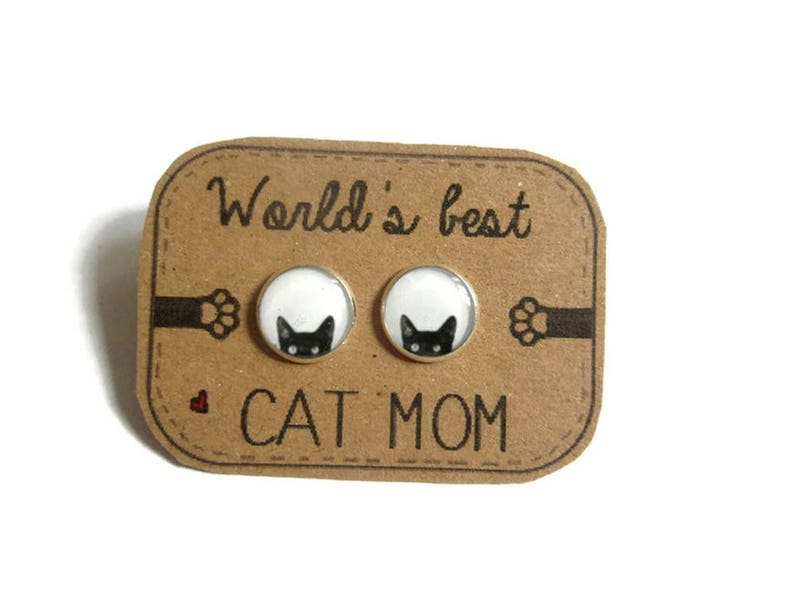 BLACK CAT EARRINGS  Peeking Cat earrings  cat studs  cat image 0