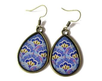 TEARDROP EARRINGS - drop earrings - blue earrings - Yellow Flower - BOHO Earrings - vintage earrings - Ethnic Earrings - retro - clip