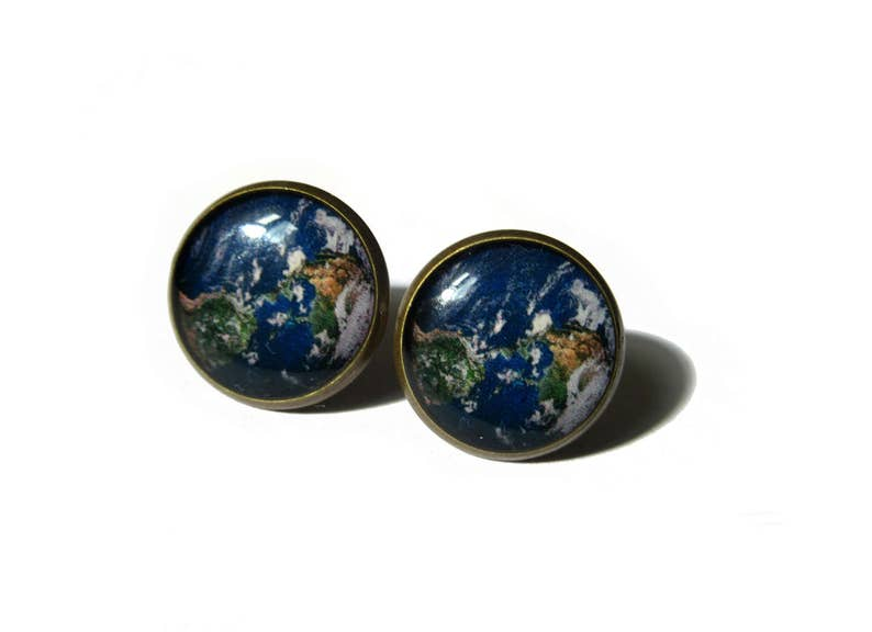 EARTH EARRINGS  earth stud earrings  earth jewelry  space image 0