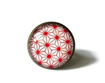 GEOMETRIC RING - red JAPANESE ring - Boho ring - gypsy ring - tribal ring - bohemian jewelry - vintage ring - women ring - women jewelry