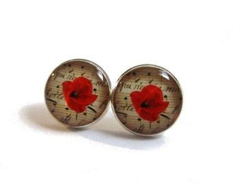 RED POPPY EARRINGS - Red stud earrings - Poppy stud earrings - Red floral jewelry - Red flower earrings - Bridesmaids jewelry
