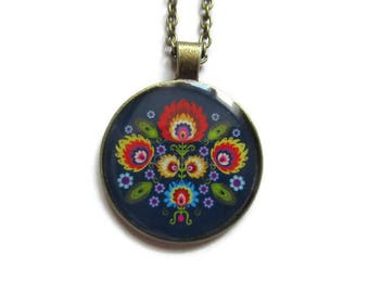 FOLK NECKLACE - russian folk pendant - adjustable jewelry - Zhostovo Russian folk jewelry - BOHO jewellery - gift for her - colorful jewelry