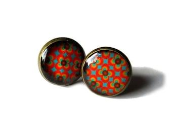 ORANGE EARRINGS - GEOMETRIC earrings - Retro stud earrings - abstract - 60's pattern - post earrings - vintage style - cabochon earrings