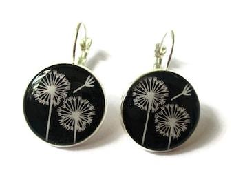 Dandelion earrings - Wish earrings - dangle earrings - Dandelion jewelry - white dandelion - wish flower - white dandelion wish
