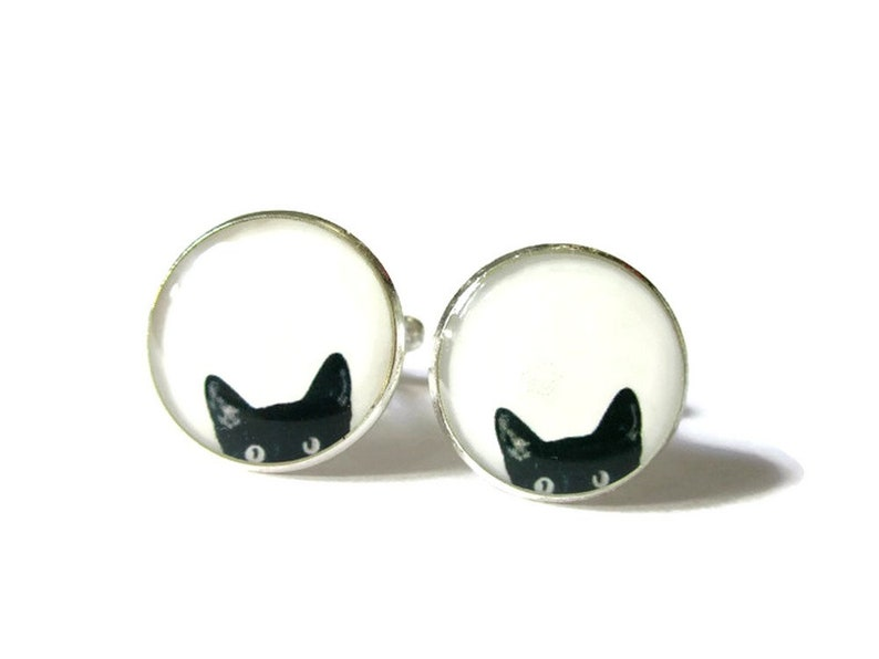 CUFFLINKS  Cat CuffLinks  Black cat cufflinks  Cat Lover image 0