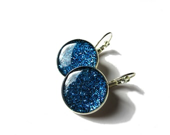 GLITTER EARRINGS - Dark Blue glitter earrings - Glitter dangle earrings - sparkly jewelry - silver earrings - resin - glitter jewelry - blue