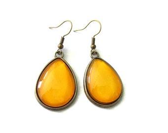 Yellow teardrop earrings - mustard earrings - yellow drop earrings - simple earrings - minimalist earrings - mustard jewelry - clip