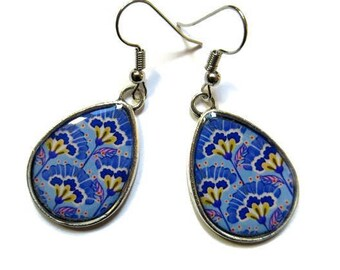 TEARDROP EARRINGS - drop earrings - geometric Pattern - blue earrings - BOHO Earrings - vintage earrings - Ethnic Earrings - retro Earrings