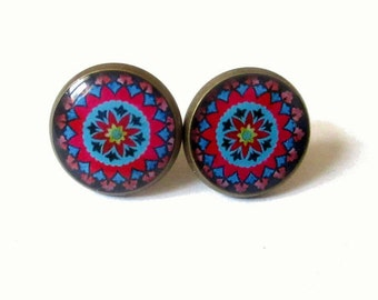 MANDALA EARRINGS - colorful mandala earrings - Mandala jewelry - Ornament earrings - Antique brass earrings - Gypsy - Bohemian earrings