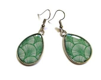GREEN TEAR DROP Earrings, geometric, Lightweight, Resin jewelry, japanese pattern - Pattern varies  Modern - Minimalist  gift for her - Boho
