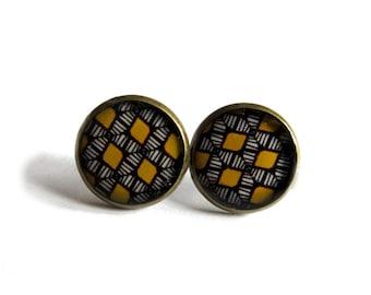AFRICAN Earrings - BOHO  Earrings - YELLOW earrings - Native Jewelry - Folk - Ethnic Earrings - Aztec Earrings - tribal earrings