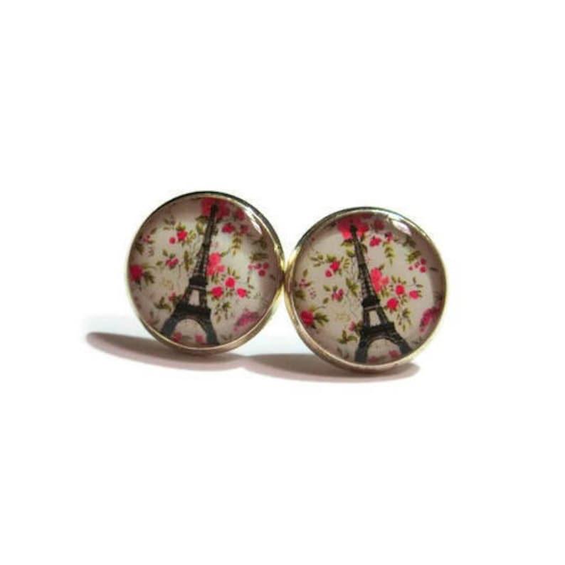 EIFFEL TOWER EARRINGS  French Earrings  Paris Jewelry  pink image 0