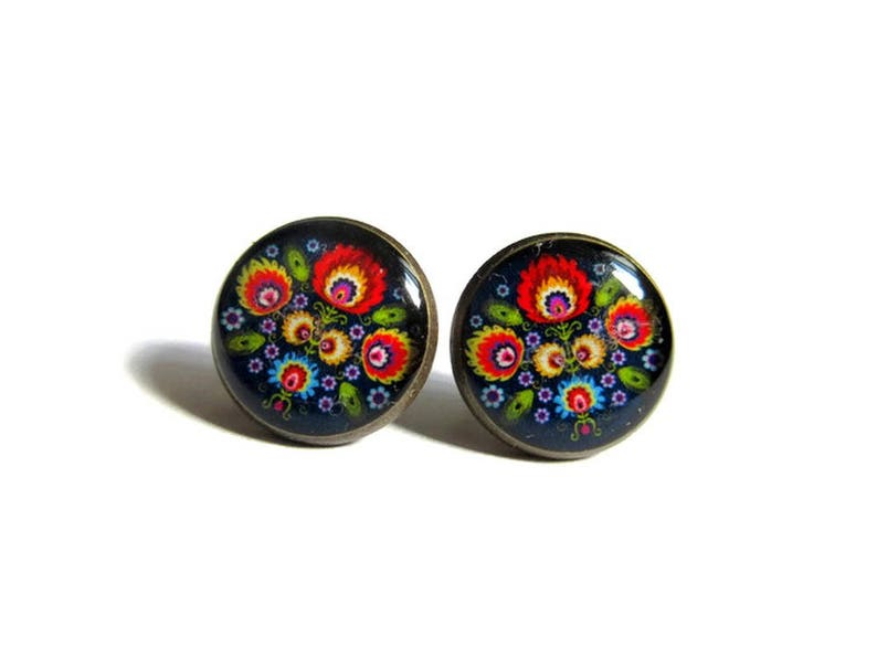 FOLK STUD EARRINGS  Polish Folk Jewelry  Folk Flowers image 0