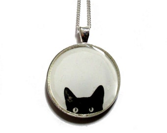 BLACK CAT NECKLACE - Peeking Cat - cat necklace - cat jewelry - black cat necklace - black and white statement necklace - peeking cat