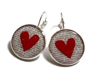 HEART DANGLE EARRINGS - heart earrings - red heart earrings - minimalist - bridesmaids gifts for|girlfriend Gift idea gift heart gifts