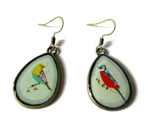 BIRDS EARRINGS - Teardrop Earrings - drop earrings bird Pattern -  BOHO Earrings - bird lover gift - bird Pattern - animal Earring - clip