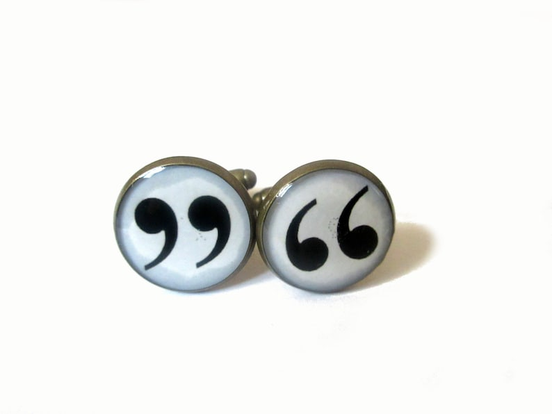 QUOTATION MARK CUFFLINKS  Punctuation  Quotation Marks   image 0