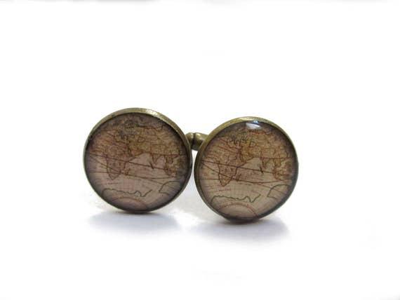 keepsake heirloom gift for him the world traveler Map Cufflinks Black and White World