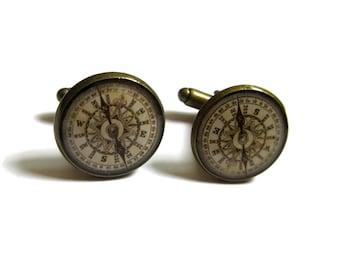 ANTIQUE COMPASS CUFFLINKS - traveler gift - compass cuff links - vintage compass cuff links - men cufflinks - Wedding Cufflink
